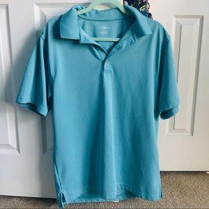 mens sky blue golf polo L